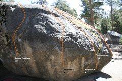 Rock Climbing Photo: Transmaniacon Boulder South West face topo