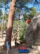 Rock Climbing Photo: Problem B (V0) on the Transmaniacon Boulder, Black...