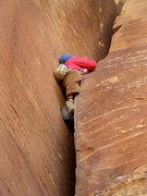 Rock Climbing Photo: Russ using a textbook foot stack near the crux