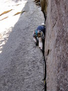 Rock Climbing Photo: Gary moves out of the #2 Camalot zone on Roadside ...