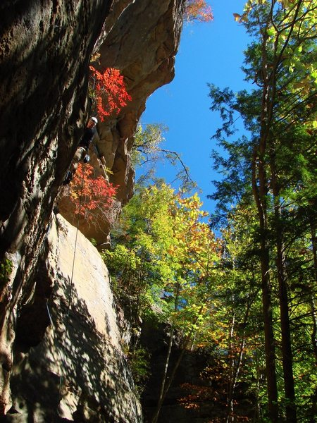 Rock Climbing Photo: Ben with the amazing fall colors on Bandolier, 11a...