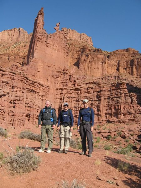 Rich, Hoot, and me after climbing Ancient Art