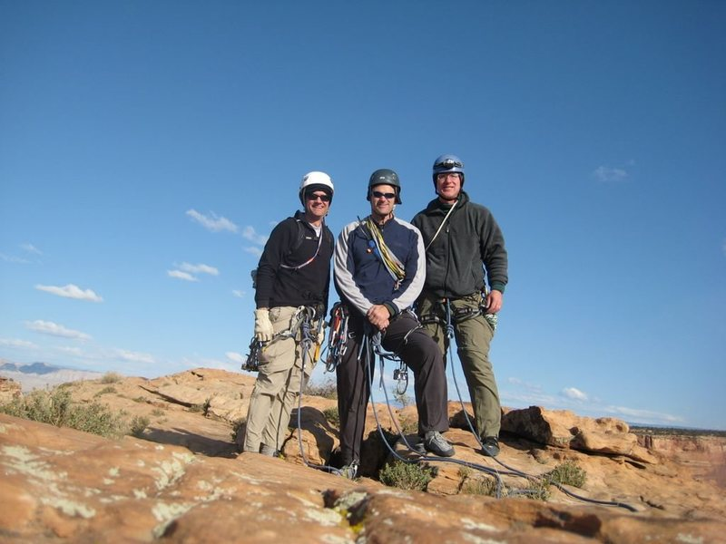 Hoot, me, and Rich on top of Independence Monument. It was a chilly October day, note hats under helmets. Fun climb!