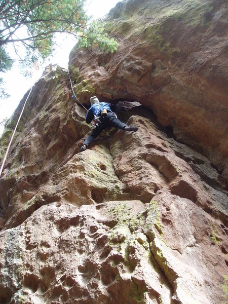 Rock Climbing Photo: Just below the crux on a miserably cold morning.