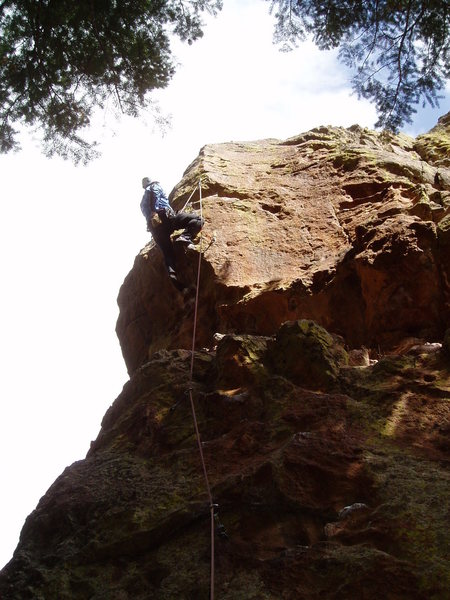 Rock Climbing Photo: Contemplating the finish. You can either step up a...