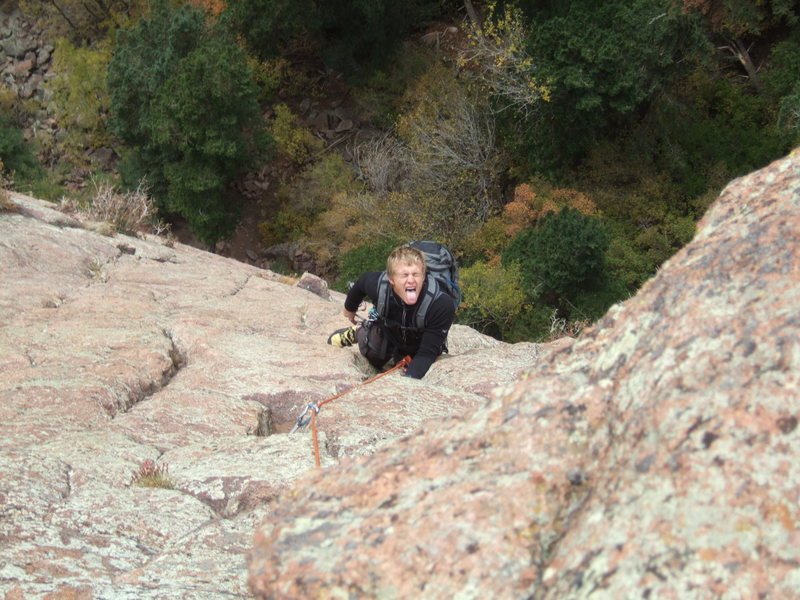Rock Climbing Photo: Ryan having a good time on the second pitch of Cra...