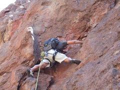 Rock Climbing Photo: Heading up Red Wall in Socorro.