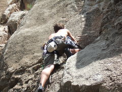Rock Climbing Photo: Mehran leading up a route at Palomas