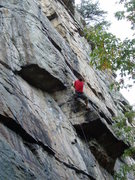 Rock Climbing Photo: Scott doing the direct variation on P1.
