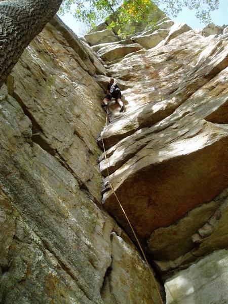 Rock Climbing Photo: Gene Smith approaching the crux.
