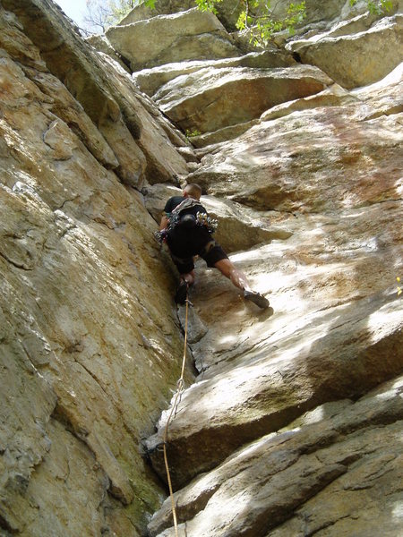 Rock Climbing Photo: Gene Smith underclinging the crux.