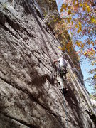 Rock Climbing Photo: Rich Gottlieb after traversing right low down on P...
