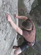 Rock Climbing Photo: Crimping his way up