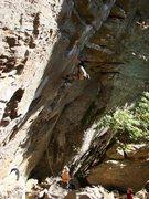 Rock Climbing Photo: Ben making the swing.  2 of 3.  October '08.