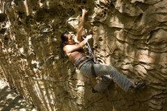 Rock Climbing Photo: Narissa doing the crux traverse.
