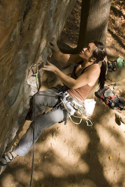 Rock Climbing Photo: Narissa cruising Fuzzy Undercling at Military Wall...