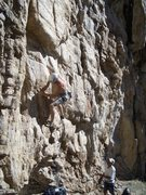 Rock Climbing Photo: Jay Smith low on the route.  Photo by DL.