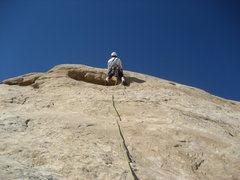 Rock Climbing Photo: Paul starting up Pitch 5