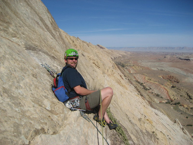 Rock Climbing Photo: Pat at the top of pitch 4 with the view up the nor...