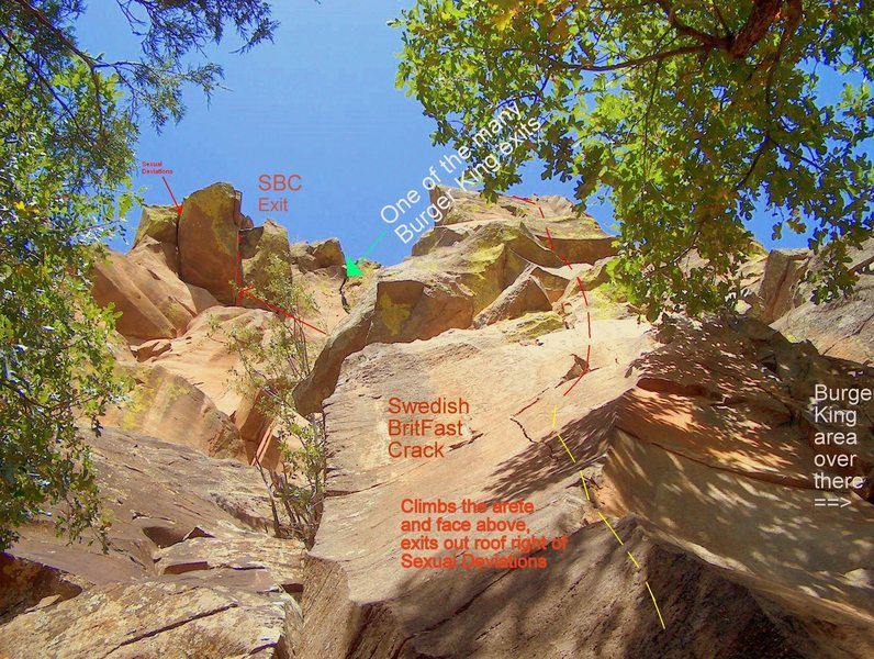 Looking up from close to the base of the Obediah finger crack.