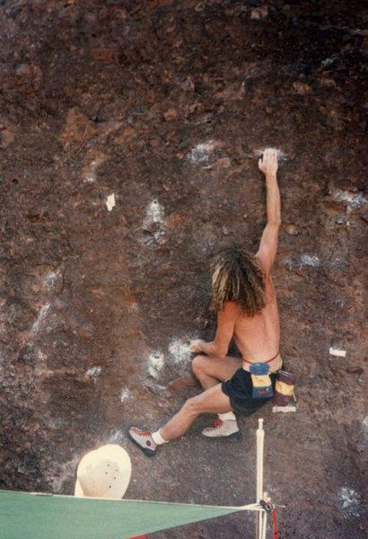 Rock Climbing Photo: brad smith on another boulder contest problem circ...