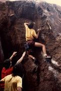Rock Climbing Photo: jan holdeman spotting again, some guy with a boatl...