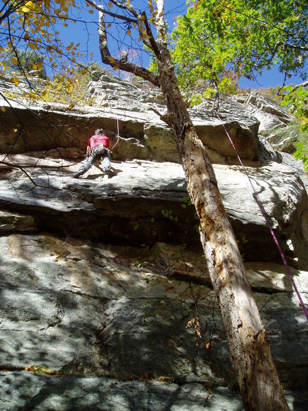 Rock Climbing Photo: Rich Goldstone on the Mantle block, between the fi...