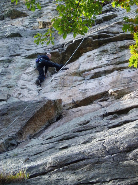 Rock Climbing Photo: Steve Amter moving up to the rest at the crux. A b...