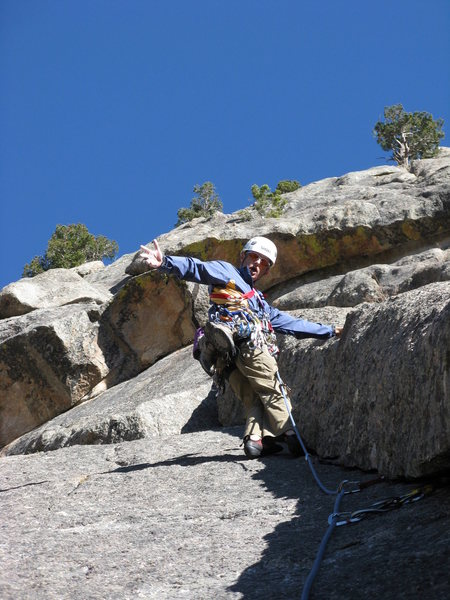 Rock Climbing Photo: Barry starting to sew up P2