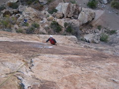 Rock Climbing Photo:  Just below the crux moves.