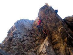 Rock Climbing Photo: Here you can see the route pretty well. Here I am ...
