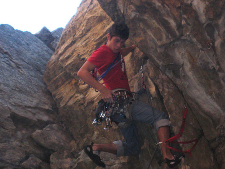 Me setting some gear before the crux.