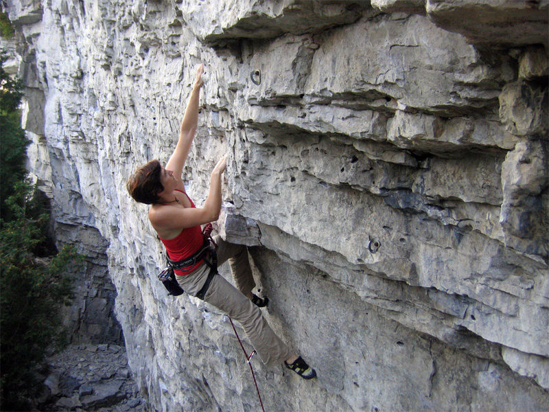 "Rock Climbing Photo: Rebecca Lewis working on ""The Punisher"""