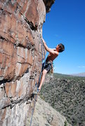 Rock Climbing Photo: Steve Laycock leading Gold Flake Arete 5.11.  Phot...