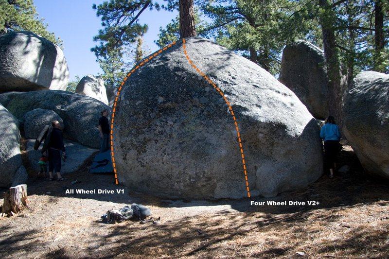 Off Road Boulder, East Face Topo