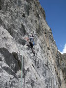 Rock Climbing Photo: Ossian B on the splitter second pitch of Grand Fin...