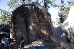 Rock Climbing Photo: Pink Boulder West face topo