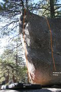 Rock Climbing Photo: Solitary Boulder South West arete topo