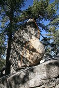 Rock Climbing Photo: Solitary Boulder West face arete topo