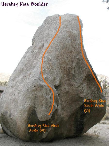 Rock Climbing Photo: Hershey Kiss Boulder topo, JTNP.