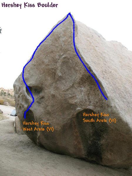 Hershey Kiss Boulder topo, JTNP.
