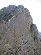Rock Climbing Photo: The first pitch headwall. The route stays on the r...