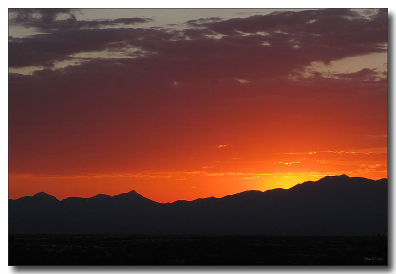 Sunset over the Whetstone Mountains as viewed from the west side of Cochise Stronghold