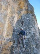 Rock Climbing Photo: John climbing up the ramp at the beginning of pitc...