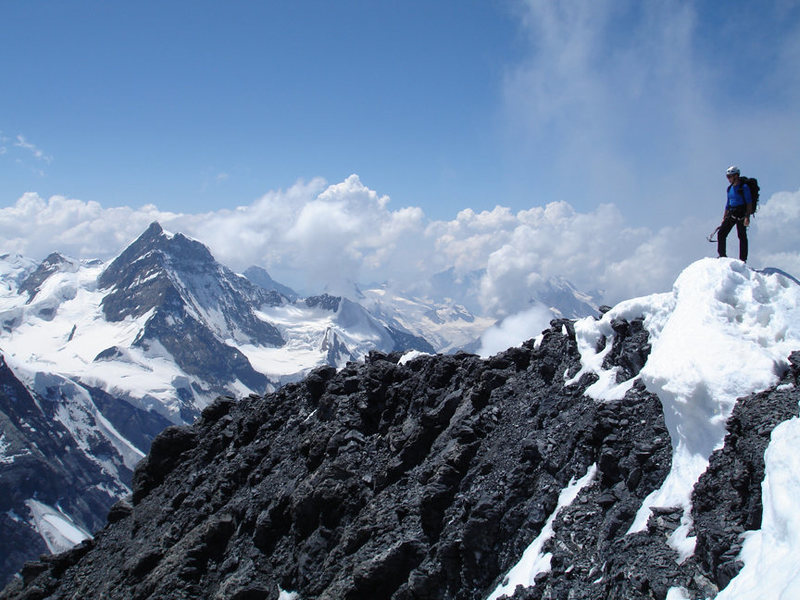 The summit of the Eiger on a warm day