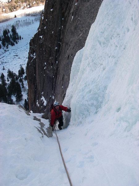 Rock Climbing Photo: Hans Johnstone following p 2 of the Ice Hose