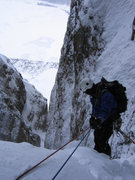 Rock Climbing Photo: Descending the unfinished Worry Line on the Icefie...