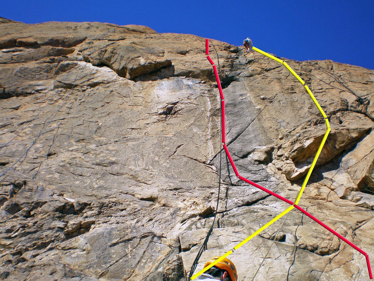Rock Climbing Photo: Zappa Dome: Token of My Extreme (yellow line), One...