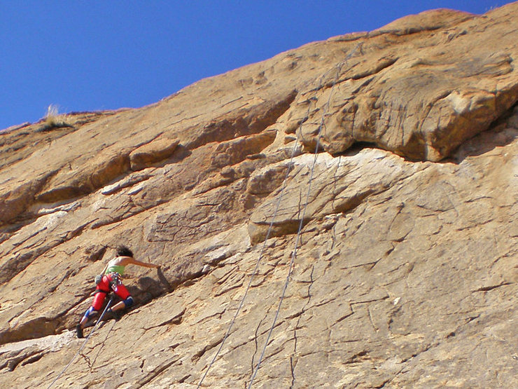 Maite approaches the tough section