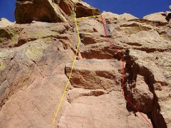 Rock Climbing Photo: YELLOW: Dihedral (5.9). YELLOW DASH: Dihedral Vari...